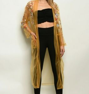 NWT Mustard Sheer Floral Embroidered Duster